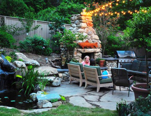 Backyard Fire place and deck