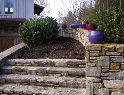 stone stairs and wall